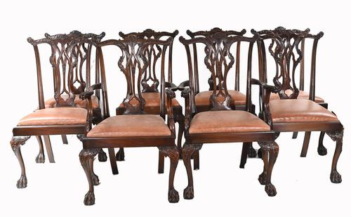 Set of Chippendale Dining Chairs Mahogany Antique 1890 Ball Claw (1 of 9)