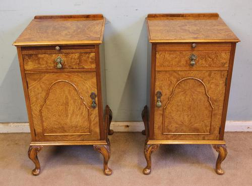 Quality Pair of Burr Walnut Bedside Cabinets (1 of 14)