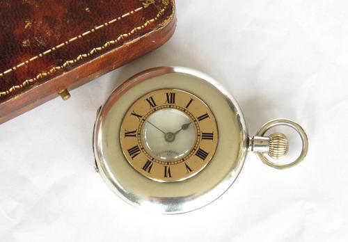 Antique Silver & Rose Gold Electa Half Hunter Pocket Watch (1 of 6)