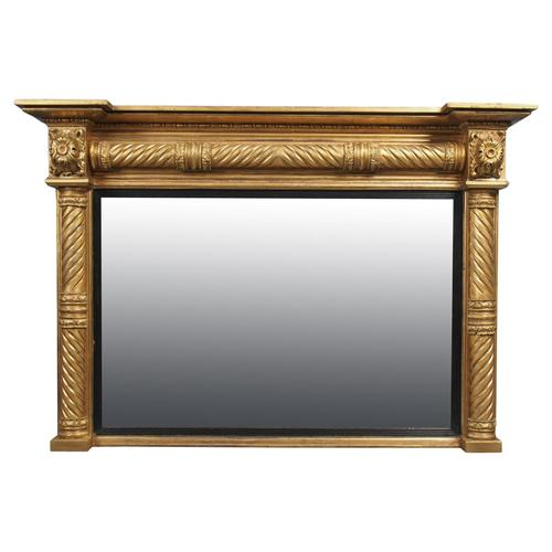 Regency Carved and Gilded Rectangular Overmantel Mirror (1 of 8)
