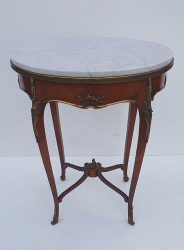 19th Century Rosewood & Kingwood Marble Top Occasional Table (1 of 5)