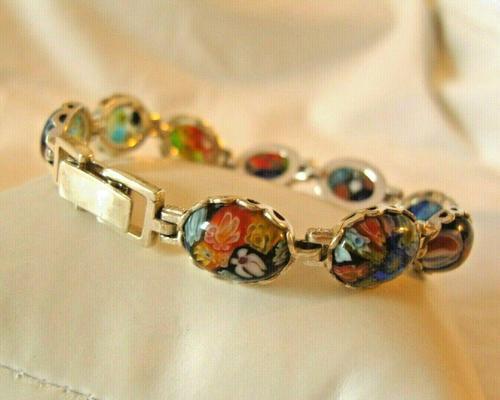 "Vintage Silver & Milliflori Glass Bracelet 1970s Length 7 3/4"" Heavy 23.7 Grams (1 of 12)"