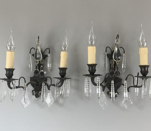 French Bronzed Crystal & Glass Pair of Wall Lights, Rewired c.1890 (1 of 7)