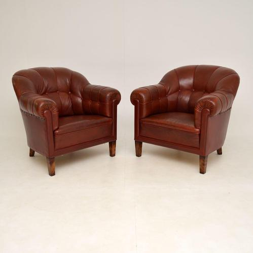 Pair of Antique Swedish  Leather Club Armchairs (1 of 11)