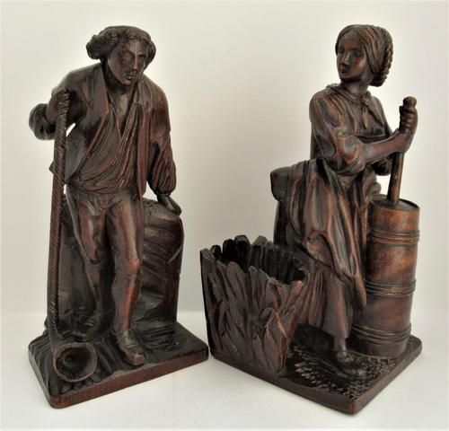Pair of Swiss Black Forest Carved Figures, Pipe Rest & Match Holder c.1890 (1 of 19)