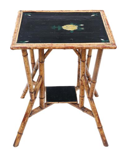 C1900 Bamboo Black Lacquer Occasional Window Table (1 of 8)