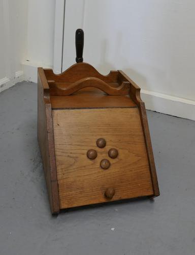 Victorian Golden Ash Coal Box with Liner & Shovel (1 of 6)