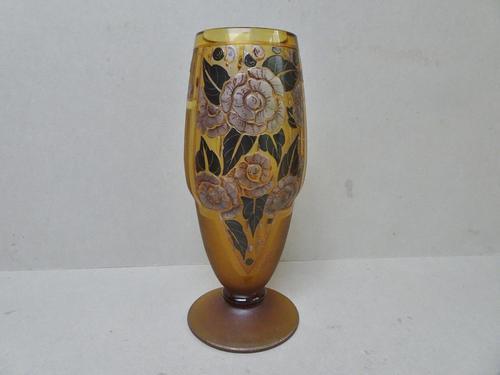 D'argyl Art Deco Glass Vase c.1930 - France (1 of 6)