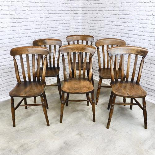 Matched Set of 6 Windsor Slatback Kitchen Chairs (1 of 8)