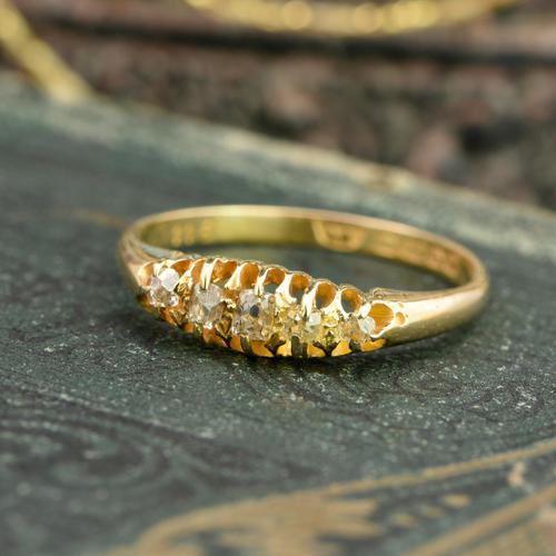 The Antique 1921 Old Cut Five Diamond Ring (1 of 8)