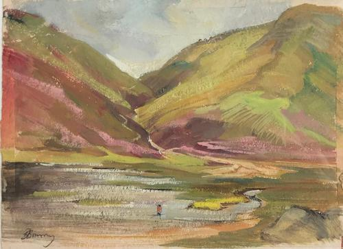 Original gouache painting 'The Hill Loch and fisherman' by Barbara Lady Brassey 1911-2010.Signed. c.1975 (1 of 2)