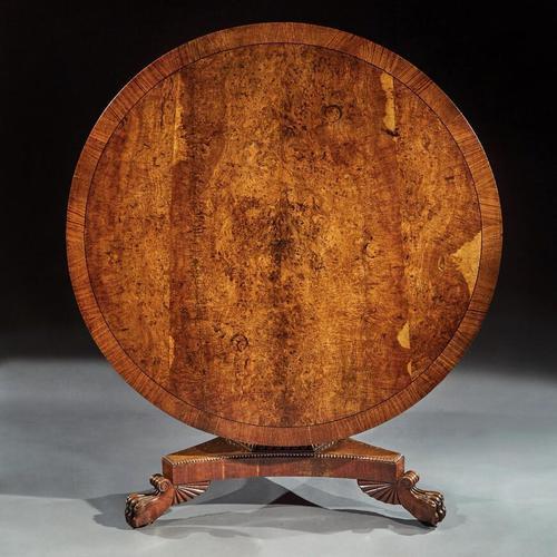 Fine Regency Burr Oak Tilt Top Table (1 of 8)
