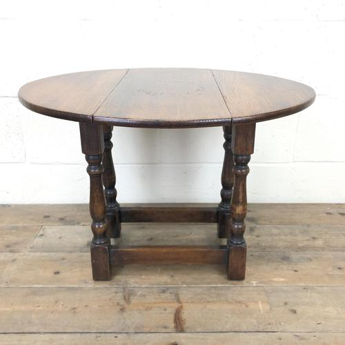 Small Antique Oak Drop Leaf Table (1 of 8)