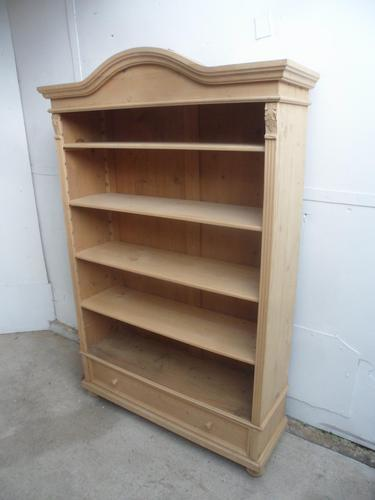 Cracking Large Antique Pine Arch Top Adjustable Bookshelf to wax / paint (1 of 9)