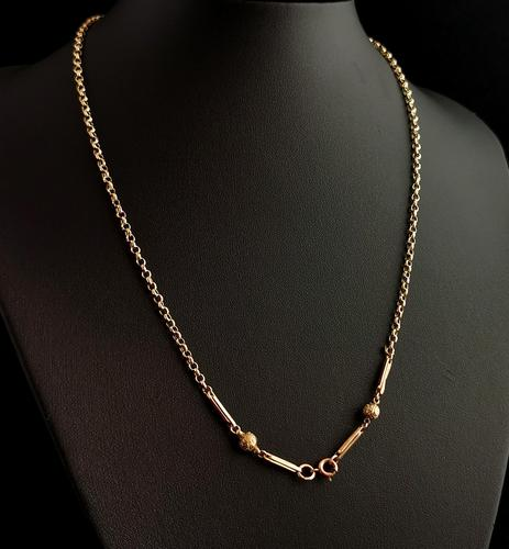 Antique 9ct Gold Fancy Link Chain Necklace, Edwardian (1 of 10)