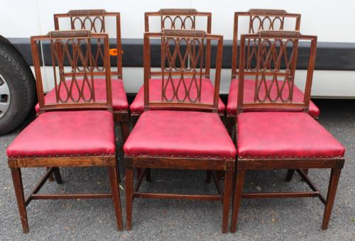 1800's Set 6 Mahogany Dining Chairs with Red Upholstery (1 of 3)