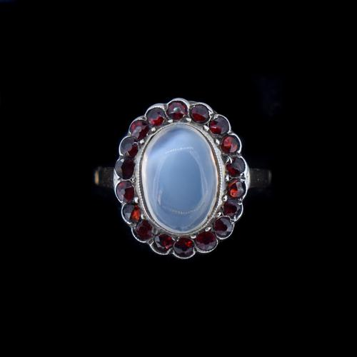 Antique Moonstone & Red Paste Oval Halo Cluster 9ct 9K Gold Dress Ring (1 of 8)