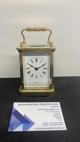 Nice 8 Day Timepiece Carriage Clock with Original Travel Case (1 of 5)