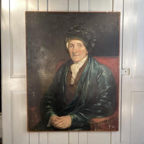 Antique Large Victorian Oil Painting Portrait of Gentleman in Smoking Jacket & Hat (1 of 10)
