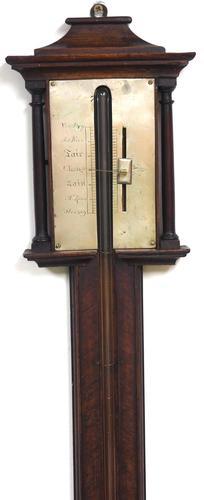 Victorian Mahogany Stick Barometer Silver Dial Rare Pagoda Top (1 of 4)
