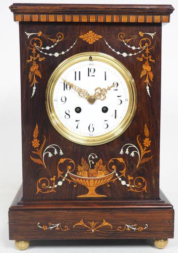 Incredible Rosewood Cased Mantel Clock with Multi Wood & Mother of Pearl Inlay 8-day Striking Clock (1 of 12)