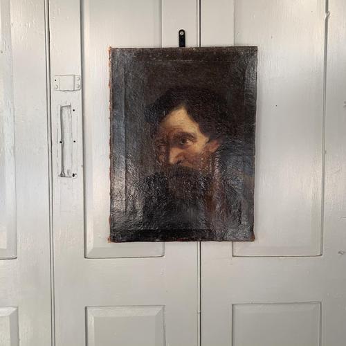 Antique Georgian oil painting portrait of dark haired bearded gentleman (1 of 11)