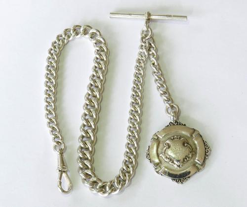 1920s Silver Pocket Watch Chain & Tennis Fob (1 of 4)