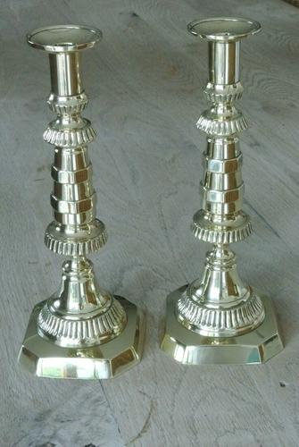 Fine Pair of Scottish Marriage Candlesticks 11inch Through Pushers c.1890 (1 of 6)