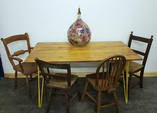 1960/70s Hairpin Legged Table With Later Pitch Pine Top (1 of 6)