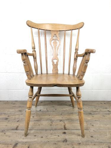 Early 20th Century Antique Beech Farmhouse Armchair (1 of 10)