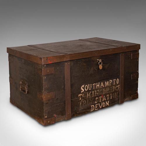 Antique Steamer Trunk, English, Pine, Iron, Carriage Chest, Victorian c.1860 (1 of 12)