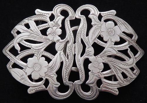 Arts and Crafts Style 1903 Hallmarked Solid Silver Nurses Belt Buckle Edwardian (1 of 8)