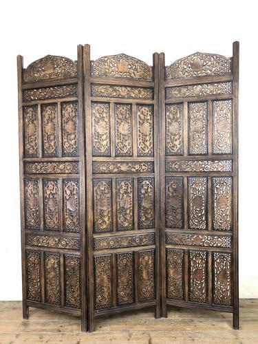 Vintage Indian Hardwood Three Panel Screen Room Divider (m-1806) (1 of 10)
