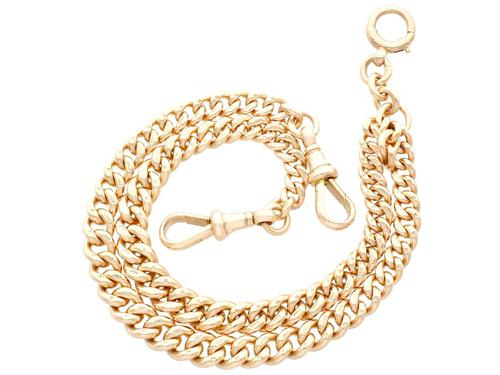 9ct Yellow Gold Double Albert Watch Chain - Antique c.1910 (1 of 12)