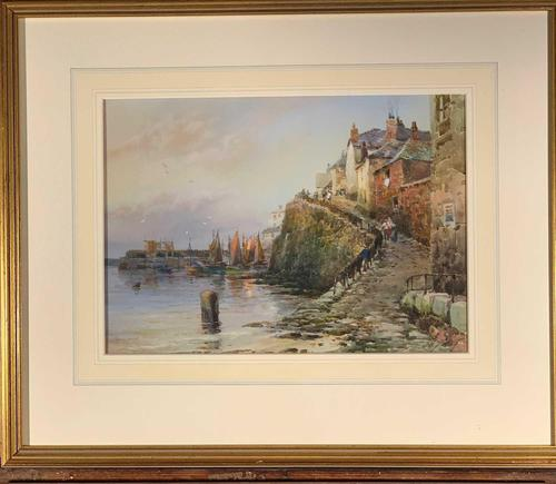 Walter Henry Sweet - Antique Watercolour - Newlyn Old Harbour (1 of 6)