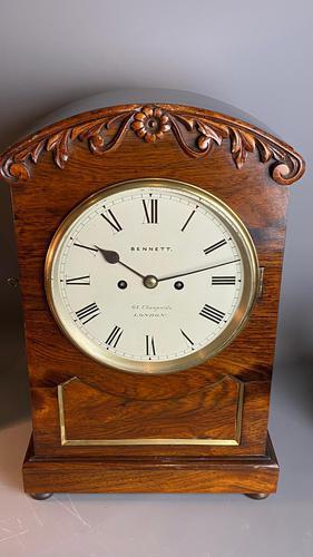 Rosewood Bracket clock signed Bennett (1 of 6)