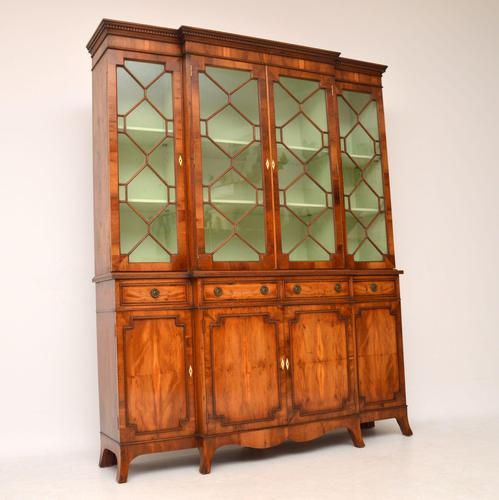 Antique Yew Wood  Sheraton Style Breakfront Bookcase (1 of 12)