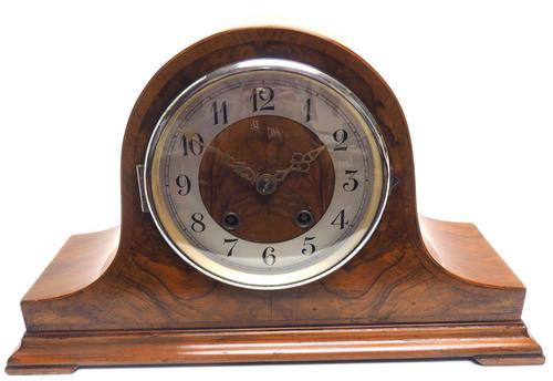 Walnut Hat-Shaped English  8-Day Mantel Clock with Silver & Walnut Dial (1 of 8)