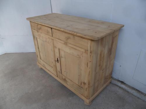 Victorian Large Antique Pine 2 Door 2 Drawer Dresser Base to wax / paint (1 of 9)
