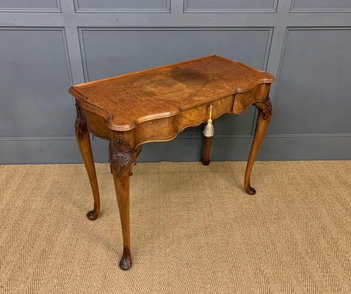 Serpentine Fronted Queen Anne Style Burr Walnut Side Table (1 of 16)
