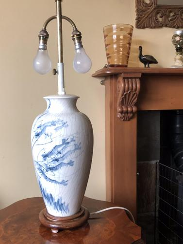 Oriental Adjustable Crackle Glaze Table Lamp (1 of 10)