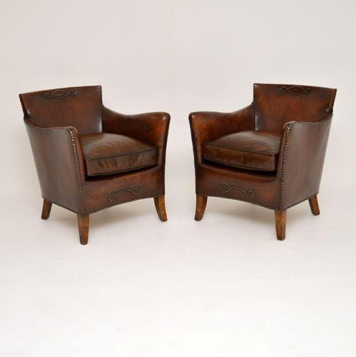 Pair of Antique Swedish Leather Armchairs (1 of 12)