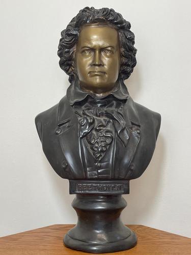 Classical Music Interest German Bronze Composer Ludwig Van Beethoven Bust Sculpture (1 of 25)