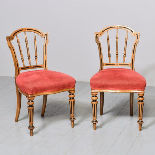 Pair of Victorian Walnut & Ebonized Side Chairs (1 of 9)