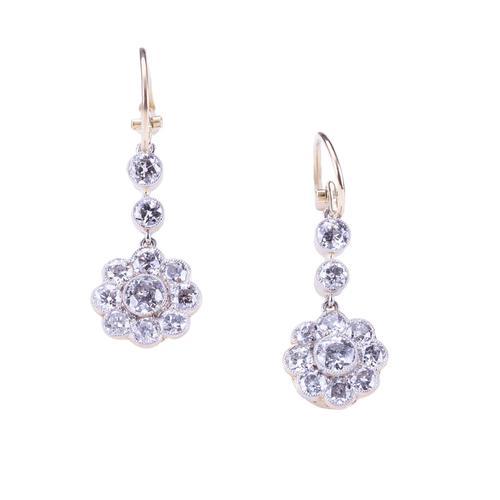 Antique Edwardian 1.40 Carat Diamond Daisy Cluster Drop Earrings Circa 1900's (1 of 4)