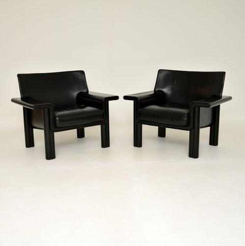 Pair of Italian Vintage Leather Armchairs by Tobia & Afra Scarpa (1 of 10)
