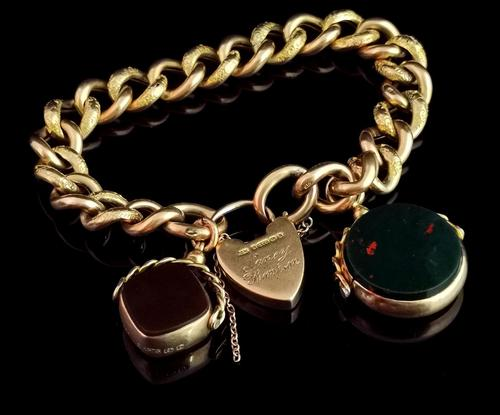 Antique 9ct Gold Curb Bracelet, Spinning Fobs (1 of 15)