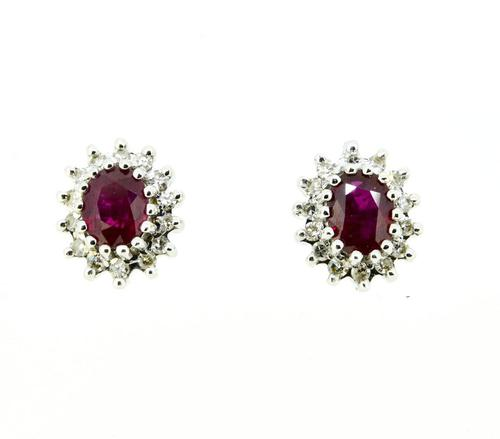 18ct Gold Ruby & Diamond Cluster Earrings (1 of 5)