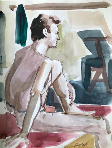 Original Watercolour 'Seated Figure' by Toby Horne Shepherd 1909-1993. Signed c.1970 (1 of 1)