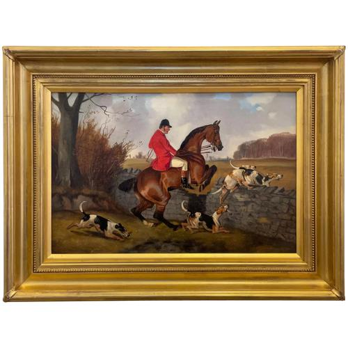 """Victorian Sporting Oil Painting """"Taking A Fence"""" Horse  & Rider With Scent Foxhounds Hunting By John Alfred Wheeler (1 of 59)"""